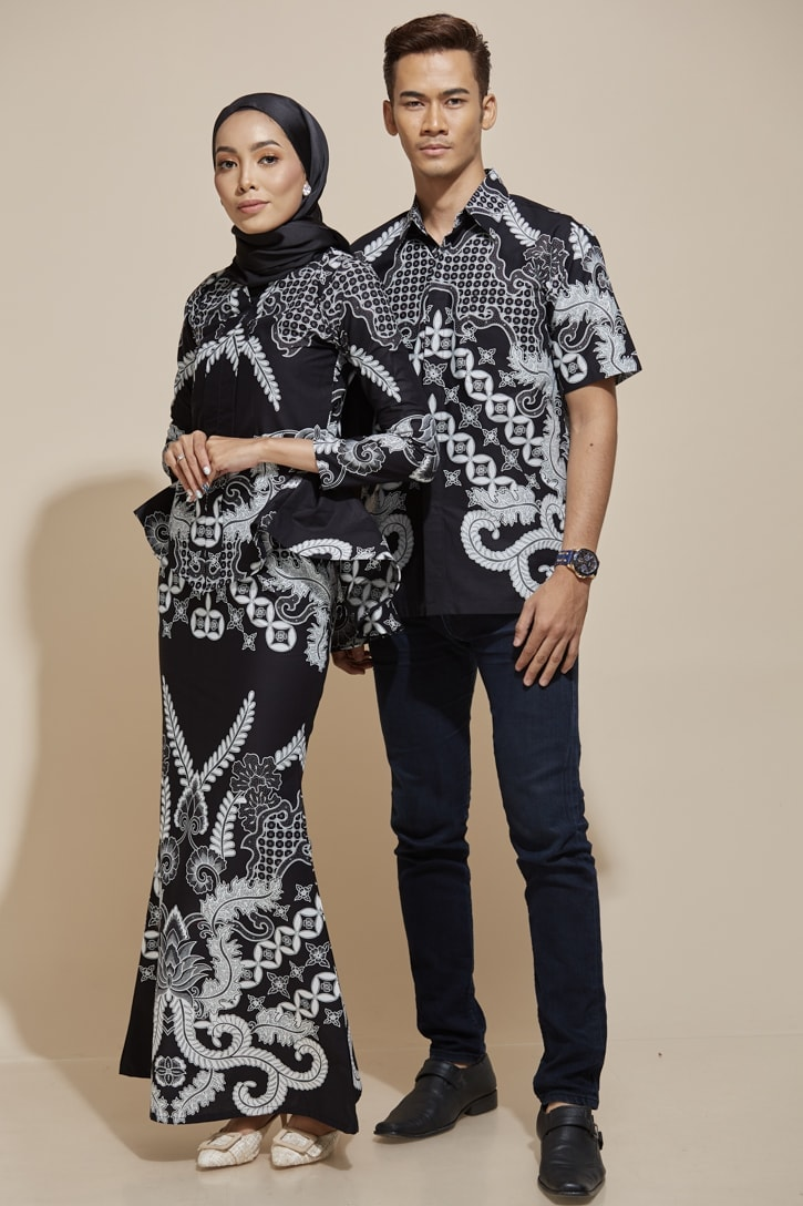 habra haute khaled kemeja batik kaisara kebaya peplum batik indonesia batik malaysia kebaya moden premium kurung moden couple set batik kh40 ks04