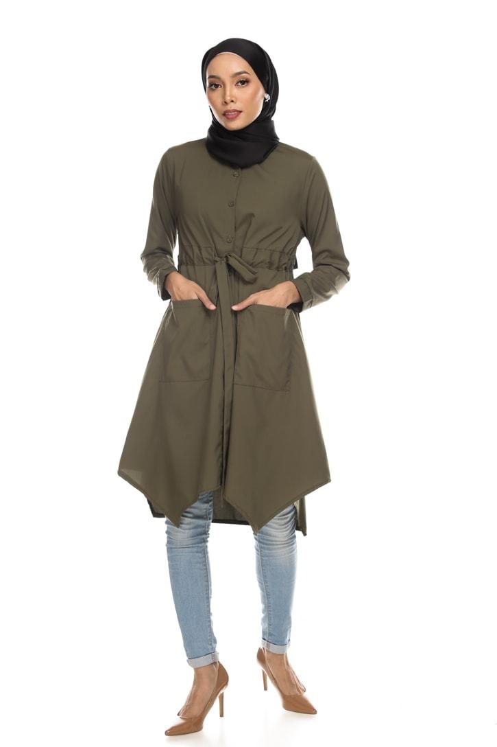 Avva madison top blouse muslimah blouse cantik blouse labuh blouse putih blouse and - army green
