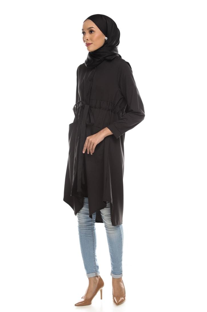 Avva madison top blouse muslimah blouse cantik blouse labuh blouse putih blouse and - black