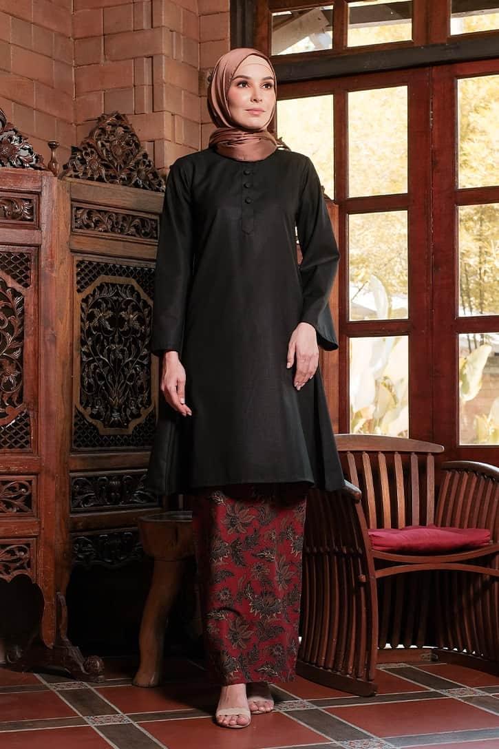 KD01 baju kurung pahang baju kurung cekak musang baju kurung batik baju kurung moden baju kurung labuh hitam merah kadija habra haute