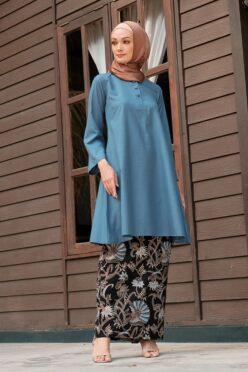 KD04 baju kurung pahang baju kurung cekak musang baju kurung batik baju kurung moden baju kurung labuh biru hitam kadija habra haute