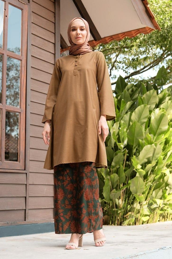 KD05 baju kurung pahang baju kurung cekak musang baju kurung batik baju kurung moden baju kurung labuh hijau brown coklat kadija habra haute