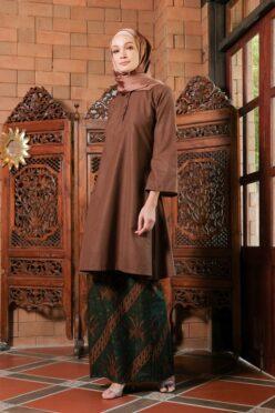 KD06 baju kurung pahang baju kurung cekak musang baju kurung batik baju kurung moden baju kurung labuh hijau brown coklat kadija habra haute