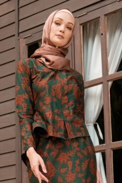 KS105 habra haute kebaya batik kebaya peplum kebaya pendek batik malaysia indonesia kebaya moden kebaya hijau