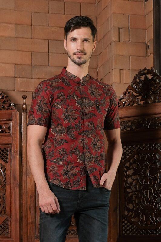 ML01 kemeja batik cekak musang kemeja lelaki batik sedondon raya 2020 batik malaysia indonesia kemeja merah