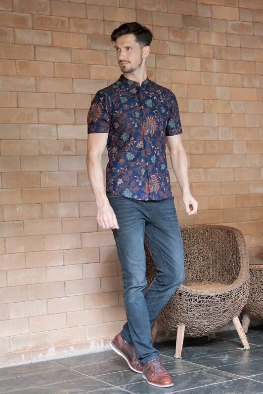 ML03 kemeja batik cekak musang kemeja lelaki batik sedondon raya 2020 batik malaysia indonesia kemeja biru