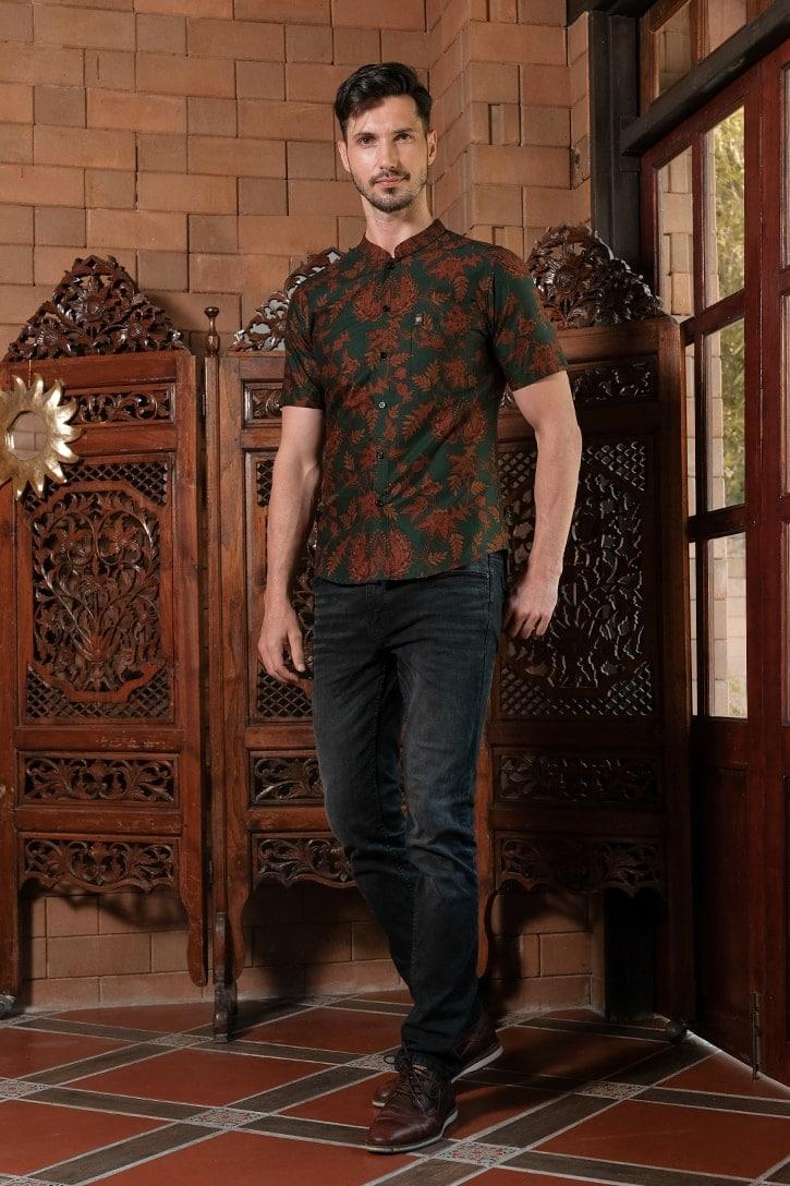 ML05 kemeja batik cekak musang kemeja lelaki batik sedondon raya 2020 batik malaysia indonesia kemeja hijau