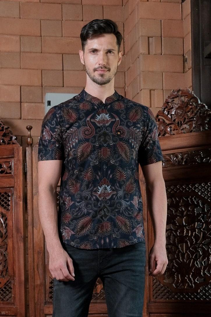 ML07 kemeja batik cekak musang kemeja lelaki batik sedondon raya 2020 batik malaysia indonesia kemeja biru