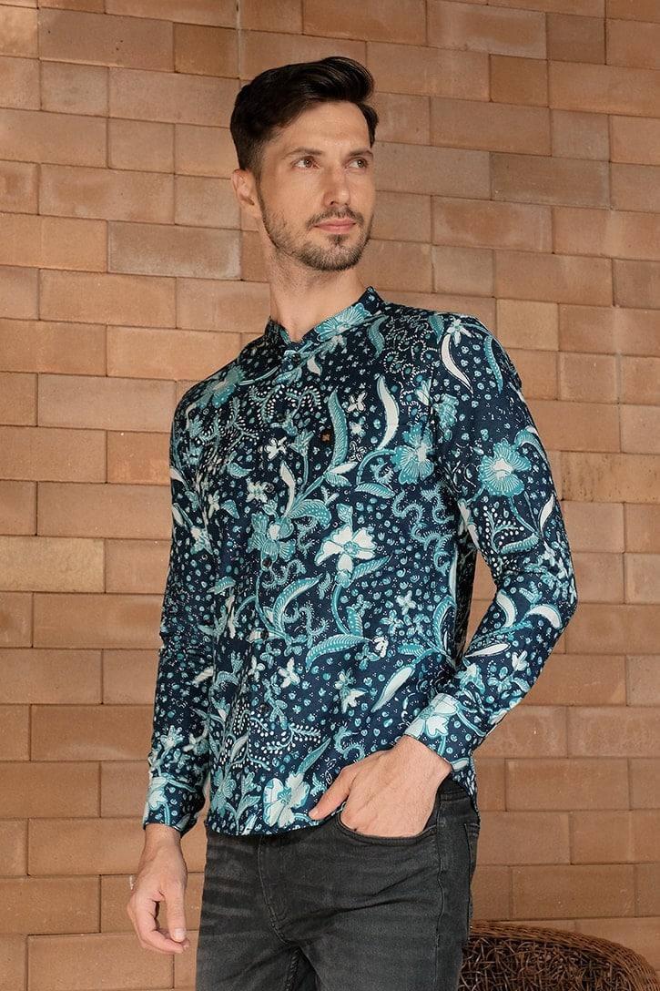 ML10 kemeja batik cekak musang kemeja lelaki batik sedondon raya 2020 batik malaysia indonesia kemeja biru
