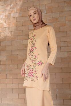 habra haute baju kurung labuh baju kurung pahang kurung moden kurung cotton modern kurung sulam bunga baju raya 2020 baju kurung kuning MM02