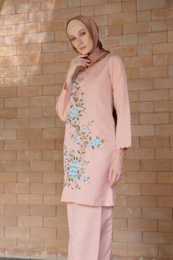 habra haute baju kurung labuh baju kurung pahang kurung moden kurung cotton modern kurung sulam bunga baju raya 2020 baju kurung pink MM03