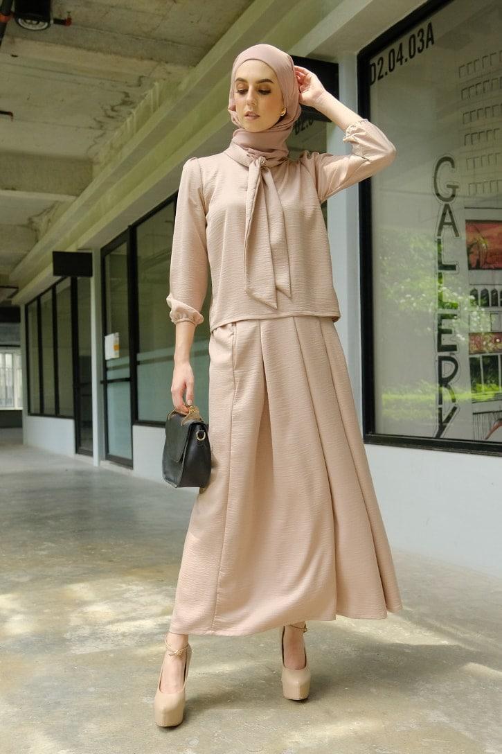 Habra evelyn suit casual wear women muslimah casual wear malaysia casual wear for ladies kasual wanita kasual smart EV02 nude