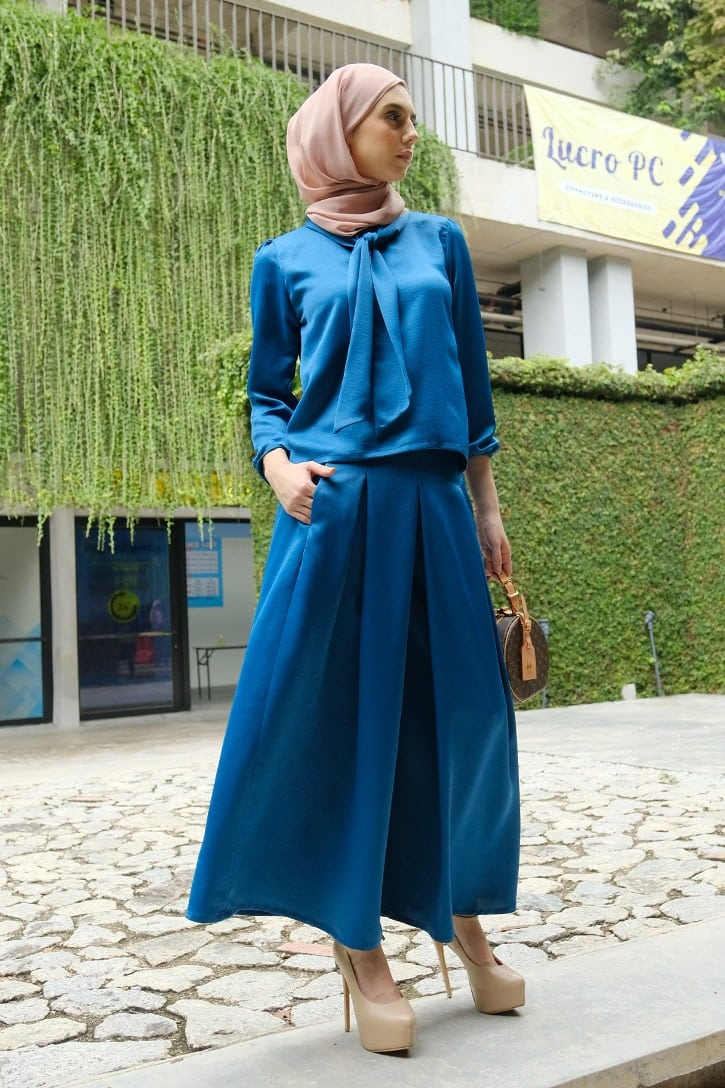 Habra evelyn suit casual wear women muslimah casual wear malaysia casual wear for ladies kasual wanita kasual smart EV10 sapphire