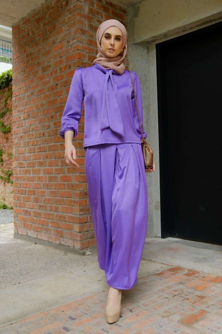 Habra evelyn suit casual wear women muslimah casual wear malaysia casual wear for ladies kasual wanita kasual smart EV12 violet