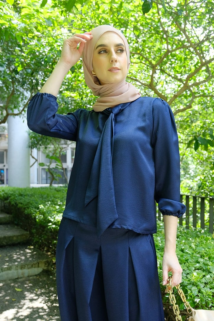 Habra evelyn suit casual wear women muslimah casual wear malaysia casual wear for ladies kasual wanita kasual smart EV07 navy