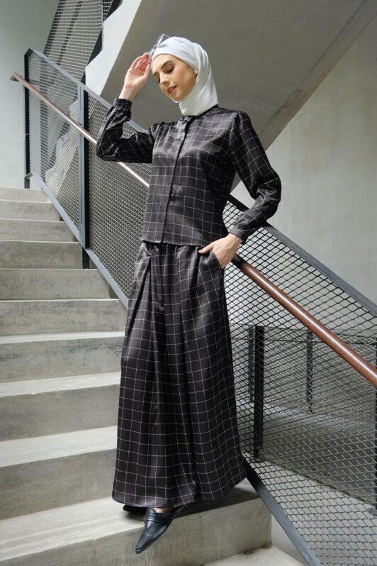 habra haute emma skirt set skirt kembang skirt labuh skirt muslimah skirt and blouse skirt set outfit skirt set summer skirt set casual skirt summer black EM02
