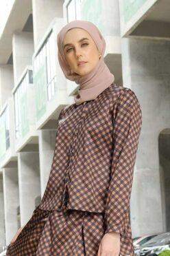 habra haute emma skirt set skirt kembang skirt labuh skirt muslimah skirt and blouse skirt set outfit skirt set summer skirt set casual skirt summer brown EM12