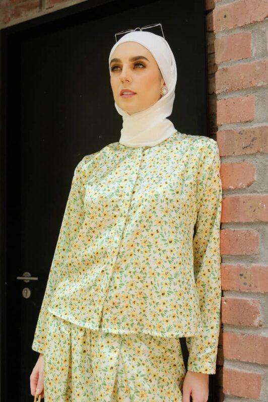 habra haute emma skirt set skirt kembang skirt labuh skirt muslimah skirt and blouse skirt set outfit skirt set summer skirt set casual skirt summer green EM05