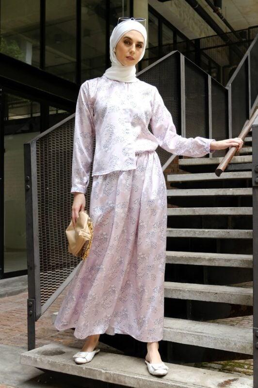 habra haute emma skirt set skirt kembang skirt labuh skirt muslimah skirt and blouse skirt set outfit skirt set summer skirt set casual skirt summer whiteblue EM04