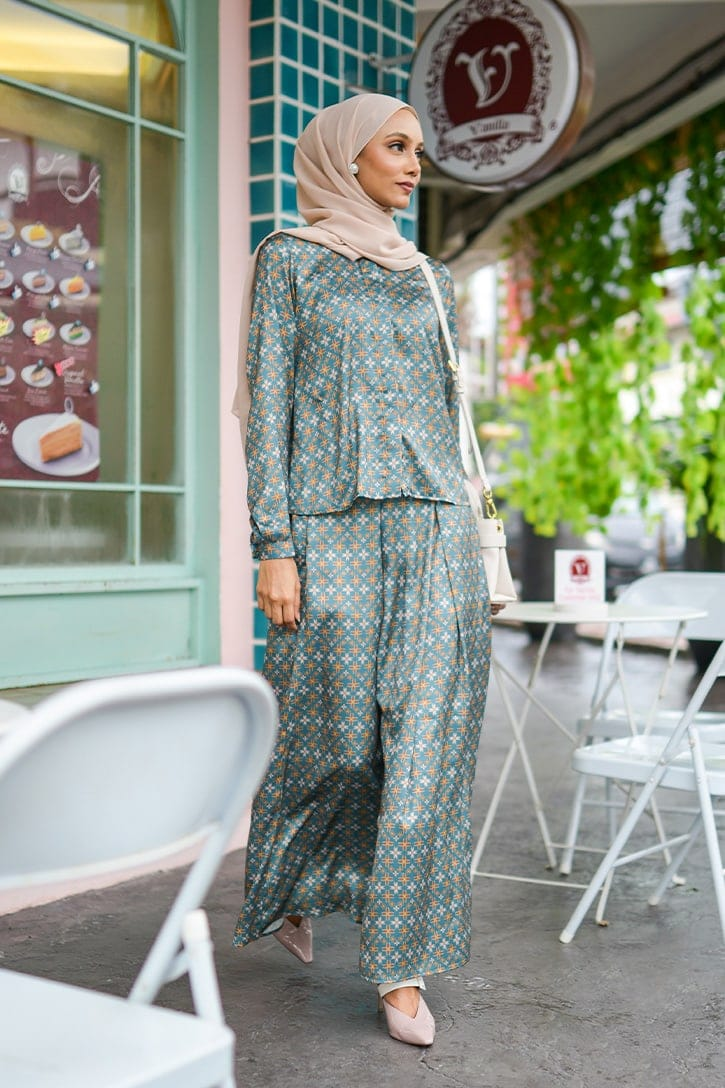 habra haute emma skirt set skirt kembang skirt labuh skirt muslimah skirt and blouse skirt set outfit skirt set summer skirt set casual skirt summer GREEN EM15