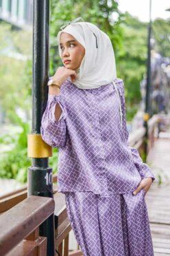 habra haute emma skirt set skirt kembang skirt labuh skirt muslimah skirt and blouse skirt set outfit skirt set summer skirt set casual skirt summer lilac EM17