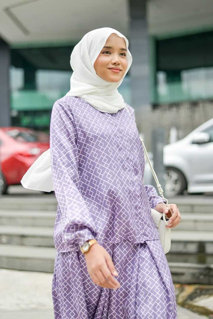 habra haute emma skirt set skirt kembang skirt labuh skirt muslimah skirt and blouse skirt set outfit skirt set summer skirt set casual skirt summer lilac EM17