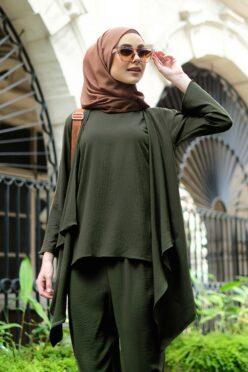 habra haute evelyn cardi casual wear for women cardigan baju casual baju kasual smart casual army green ev20