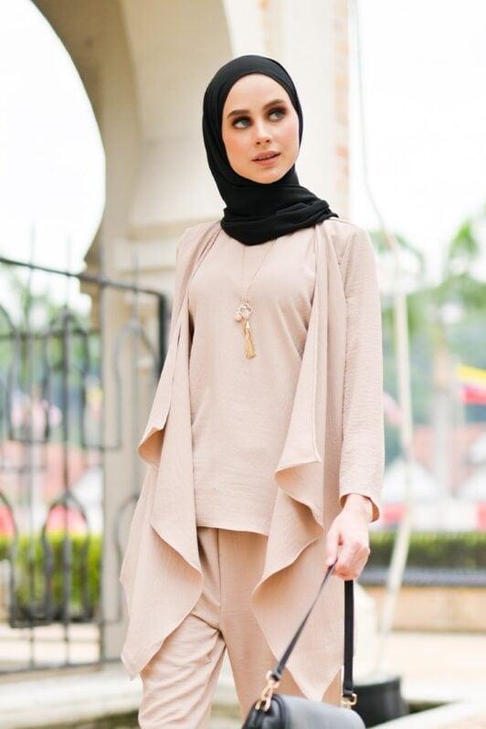 habra haute evelyn cardi casual wear for women cardigan baju casual baju kasual smart casual nude coklat ev23