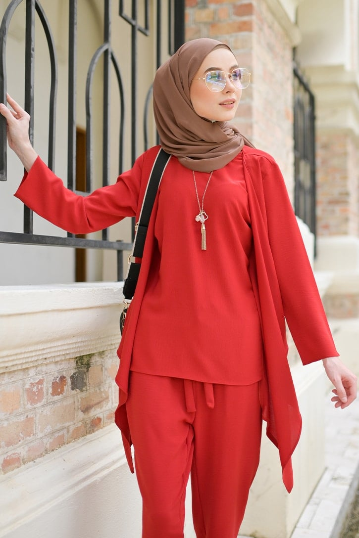 habra haute evelyn cardi casual wear for women cardigan baju casual baju kasual smart casual red merah EV17
