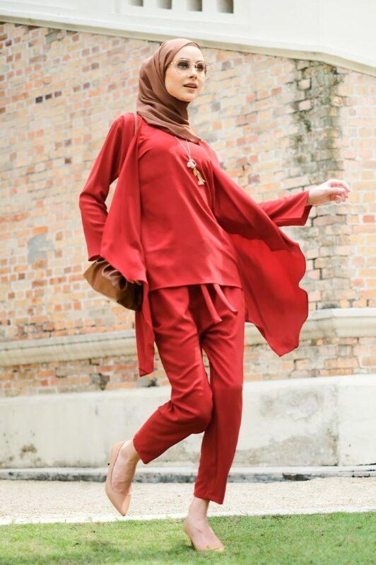 habra haute evelyn cardi casual wear for women cardigan baju casual baju kasual smart casual red merah EV17