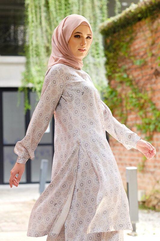 Habra Bissara Long Tunic suit casual wear women muslimah casual wear malaysia casual wear for ladies kasual wanita kasual smart moroccan BS21