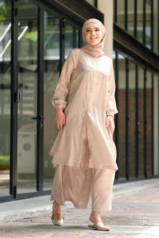 Habra Bissara Long Tunic suit casual wear women muslimah casual wear malaysia casual wear for ladies kasual wanita kasual smart nude BS17