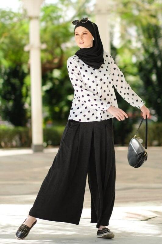 habra haute baju muslimah moden casual wear for women kasual muslimah seluar slack wanita set baju dan seluar set blouse and pants set blouse dan seluar emmi set black mi11