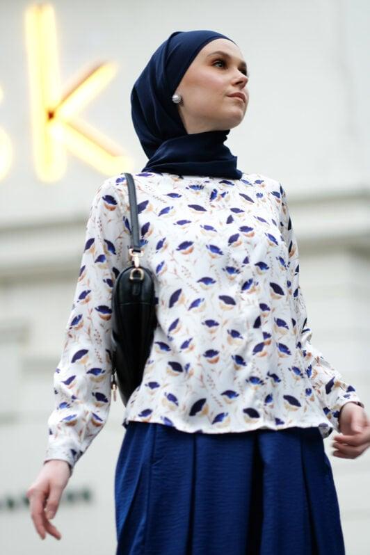 habra haute baju muslimah moden casual wear for women kasual muslimah seluar slack wanita set baju dan seluar set blouse and pants set blouse dan seluar emmi set blue mi03