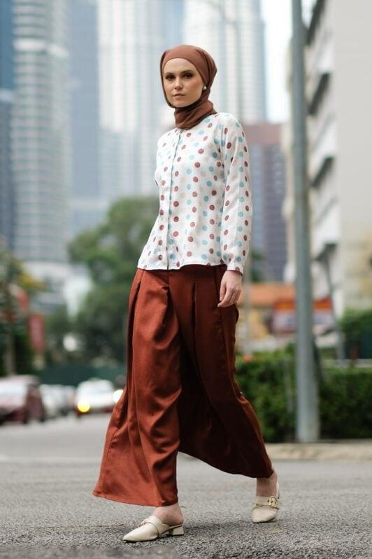 habra haute baju muslimah moden casual wear for women kasual muslimah seluar slack wanita set baju dan seluar set blouse and pants set blouse dan seluar emmi set brown mi05
