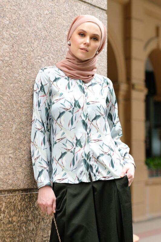 habra haute baju muslimah moden casual wear for women kasual muslimah seluar slack wanita set baju dan seluar set blouse and pants set blouse dan seluar emmi set green mi07