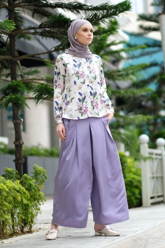 habra haute baju muslimah moden casual wear for women kasual muslimah seluar slack wanita set baju dan seluar set blouse and pants set blouse dan seluar emmi set lilac mi04