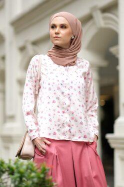 habra haute baju muslimah moden casual wear for women kasual muslimah seluar slack wanita set baju dan seluar set blouse and pants set blouse dan seluar emmi set pink mi09