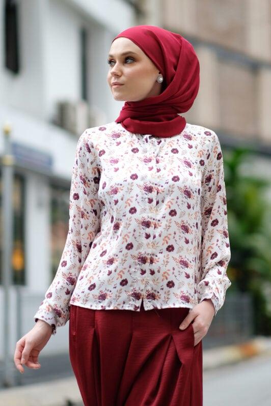 habra haute baju muslimah moden casual wear for women kasual muslimah seluar slack wanita set baju dan seluar set blouse and pants set blouse dan seluar emmi set red mi01