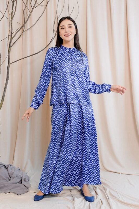 habra haute emma skirt set skirt kembang skirt labuh skirt muslimah skirt and blouse skirt set outfit skirt set summer skirt set casual skirt summer blue EM06