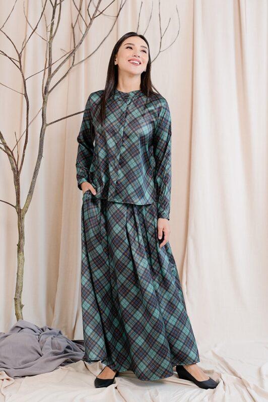 habra haute emma skirt set skirt kembang skirt labuh skirt muslimah skirt and blouse skirt set outfit skirt set summer skirt set casual skirt summer blue EM11
