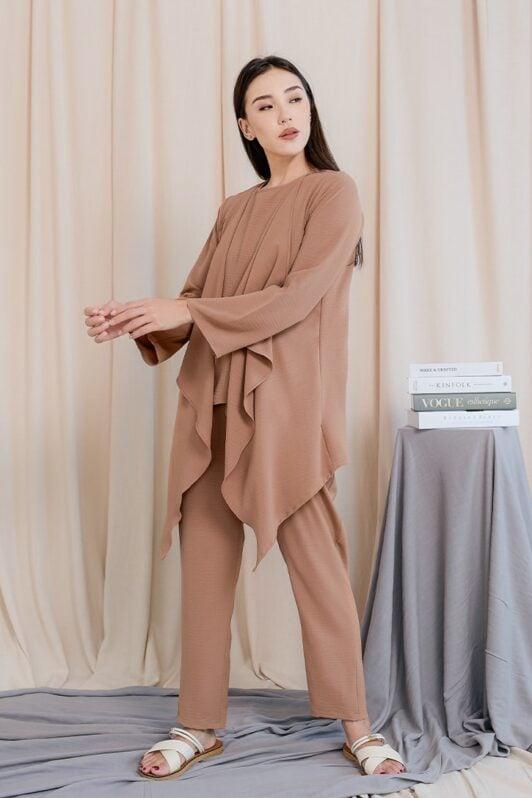 habra haute evelyn cardi casual wear for women cardigan baju casual baju kasual smart casual brown sugar ev25