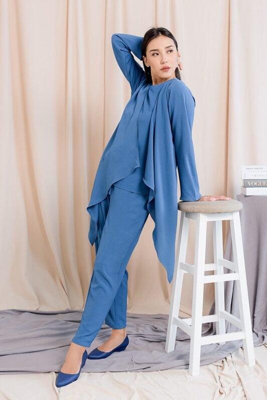 habra haute evelyn cardi casual wear for women cardigan baju casual baju kasual smart casual peacock blue ev28