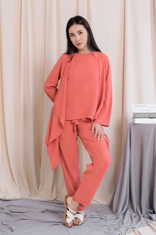 habra haute evelyn cardi casual wear for women cardigan baju casual baju kasual smart casual salmon ev27