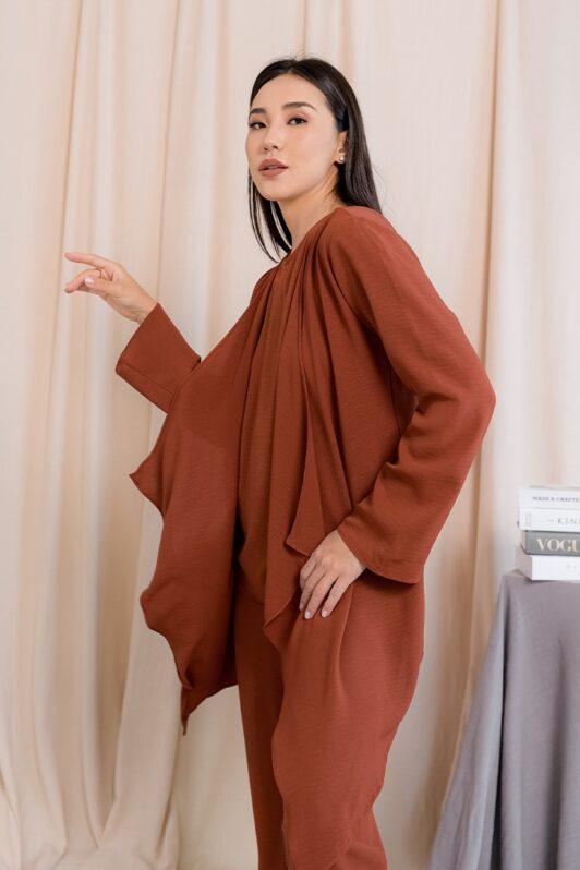 habra haute evelyn cardi casual wear for women cardigan baju casual baju kasual smart casual wood brown ev26