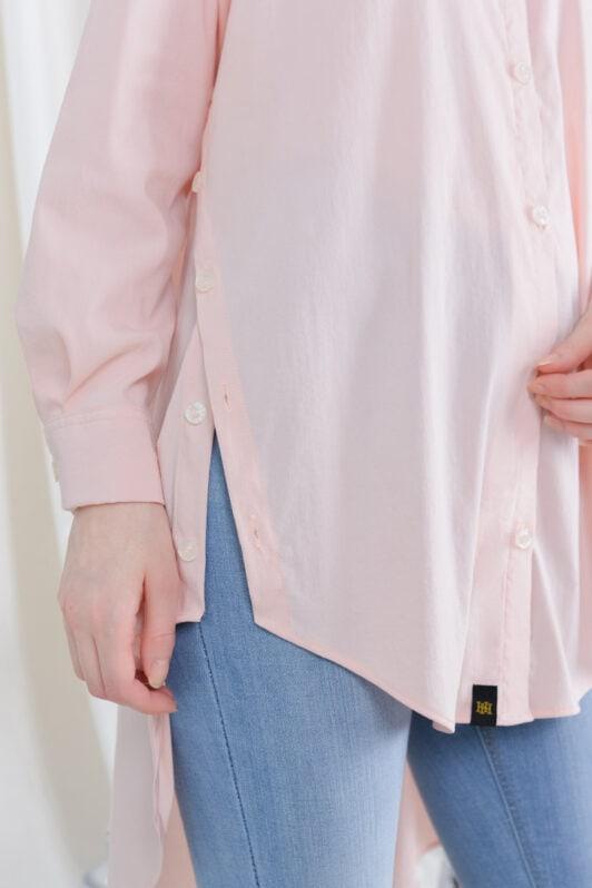 habra haute casual top casual wear for women blouse muslimah shirt for women shirt collar type butang depan gio button shirt baby pink GI08