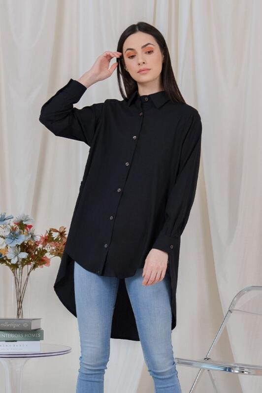 habra haute casual top casual wear for women blouse muslimah shirt for women shirt collar type butang depan gio button shirt black GI06