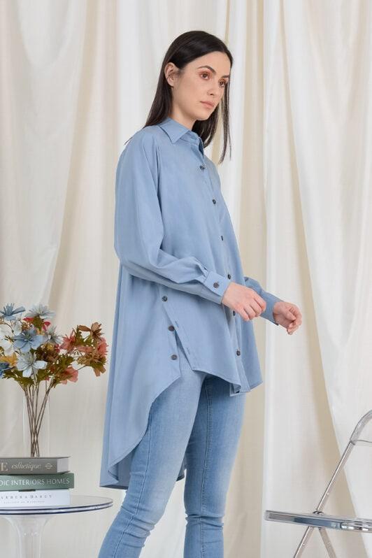 habra haute casual top casual wear for women blouse muslimah shirt for women shirt collar type butang depan gio button shirt dusty blue GI01