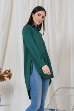 habra haute casual top casual wear for women blouse muslimah shirt for women shirt collar type butang depan gio button shirt emerald green GI03