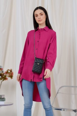 habra haute casual top casual wear for women blouse muslimah shirt for women shirt collar type butang depan gio button shirt fuchsia GI05